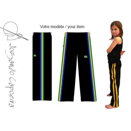 Pantalon de capoeira Jogando Capoeira - Menino Afro noir Brazil (enfant)