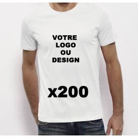 Lot de 200 Tshirts blancs Homme 100% coton à personnaliser