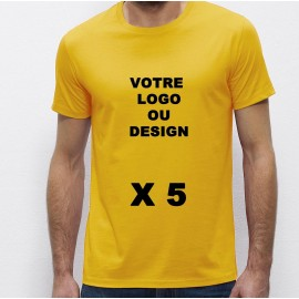 Lot de 5 Tshirts jaunes Homme 100% coton à personnaliser