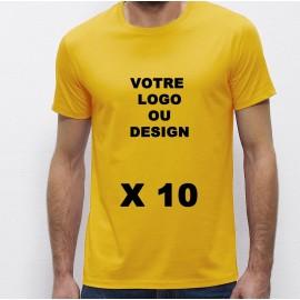 Lot de 10 Tshirts jaunes Homme 100% coton à personnaliser