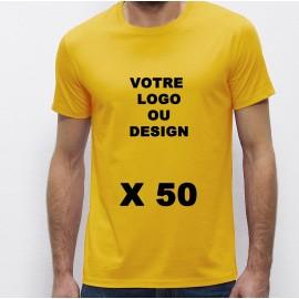 Lot de 50 Tshirts jaunes Homme 100% coton à personnaliser