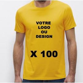 Lot de 100 Tshirts jaunes Homme 100% coton à personnaliser