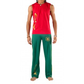 Green capoeira pants for men Besouro Manganga