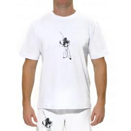 White capoeira tee shirt Tocando for men - Mestres Brasil