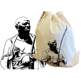 Capoeira bag with Mestre Bimba playing the berimbau