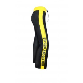 Black and yellow capoeira pants for men - Mestres Brasil