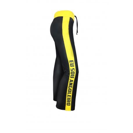 Black and yellow capoeira pants for men - Mestres Brasil