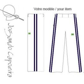 Pantalon de capoeira blanc Duas linhas Bleu marine Jogando Capoeira