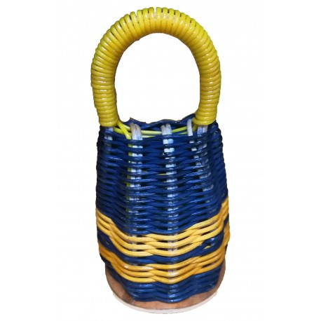 Caxixi bleu marine jaune osier