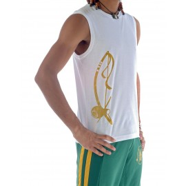White capoeira tshirt sleeveless for men Besouro Manganga