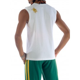 Tshirt blanc de capoeira sans manches Besouro Manganga
