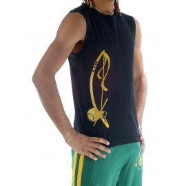 Black capoeira tshirt sleeveless for men Besouro Manganga