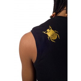 Tshirt de capoeira noir sans manches Homme Besouro Manganga