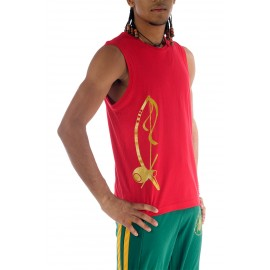Red capoeira tshirt sleeveless for men Besouro Manganga