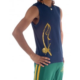 Navy blue capoeira tshirt sleeveless for men Besouro Manganga