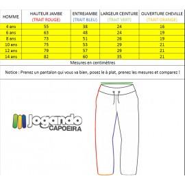 Pantalon de Capoeira noir et blanc pour enfants Duas Linhas