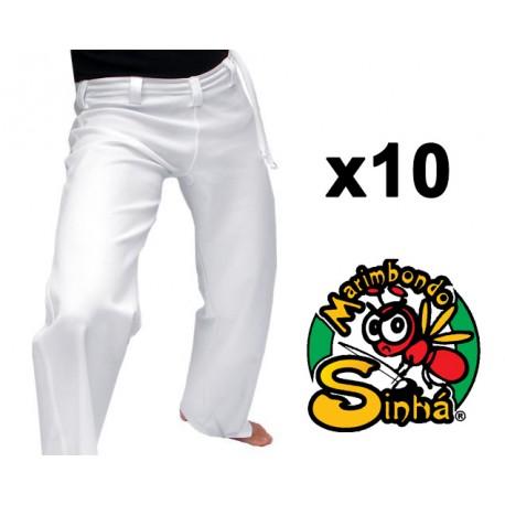 Lot 10 pantalons blancs adultes de capoeira Marimbondo Sinha