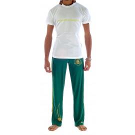 Tee Shirt Blanc Lime de capoeira Besouro Manganga