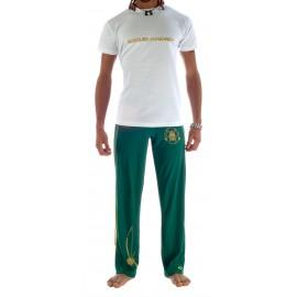 Tee Shirt Blanc Or de capoeira Besouro Manganga