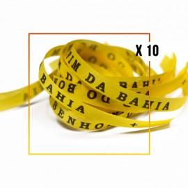 Bracelets brésiliens porte bonheur fita Senhor da Bonfim, paquets de 10 fitas jaunes