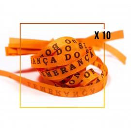 10 Bracelets brésiliens orange porte bonheur fita Senhor da Bonfim, paquets de 10 fitas orange