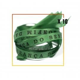 10 Bracelets brésilien verts foncé porte bonheur fita Senhor da Bonfim, paquets de 10 fitas jaunes