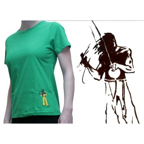 "Tshirt ""Mestres"" femme - Berimbau vert"