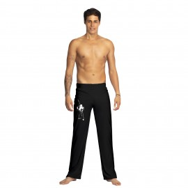 Black capoeira pants Tocando for men - Mestres Brasil