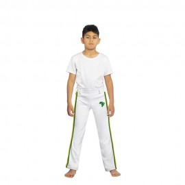 Pantalon de capoeira blanc pour enfants Afro - Mestres Brasil