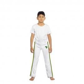 Pantalón de capoeira para niños blanco Afro - Mestres Brasil