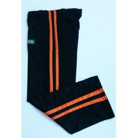 """Pantalon de Capoeira - Abada Jogando Capoeira """"duas linhas""""noir et orange"""