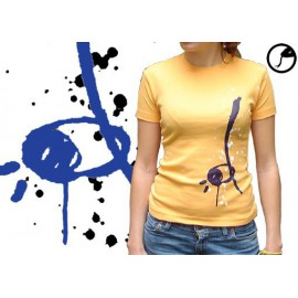 Tee-shirt Cobracoral  berimbau bleu sur orange