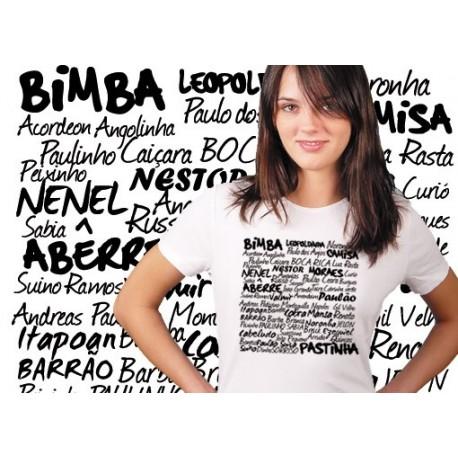 Tshirt capoeira femme blanc Bimba, Moraes, Camisa, Pastinha