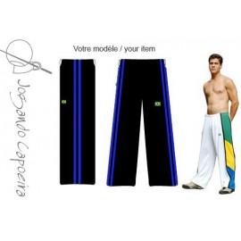 Black and blue capoeira pants - Duas Linhas Jogando Capoeira