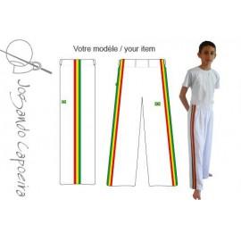 Pantalon de capoeira  Jogando Capoeira - Menino Afro blanc(enfant)