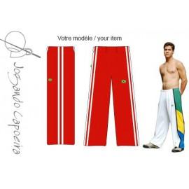 """Pantalon de Capoeira - Abada Jogando Capoeira """"duas linhas""""rouge&blanc"""