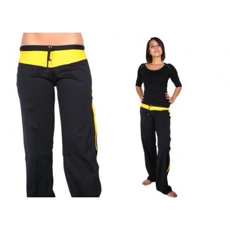 """Pantalon de capoeira M.S """"Dibum féminin Noir et jaune"""""""