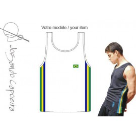 White afro Brazil tank top for men Jogando Capoeira