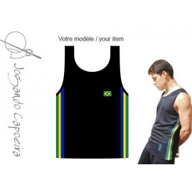 Black afro tank top for men Jogando Capoeira
