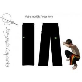 Pantalon de capoeira JC-Abada enfant noir uni