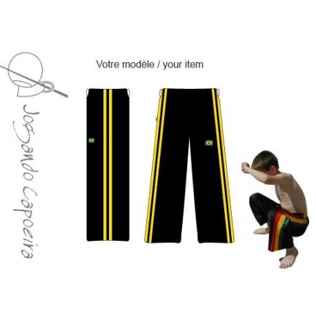 """Pantalon de Capoeira JC """"© - Menino Duas linhas Noir/jaune"""