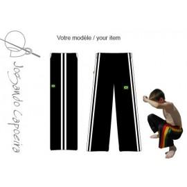 Pantalon de Capoeira JC - Menino noir duas linhas blanc