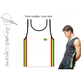 White afro tank top for men Jogando Capoeira
