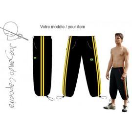 Pantalon de capoeira  3/4 Jogando Capoeira © Voador duas linhas noir/jaune