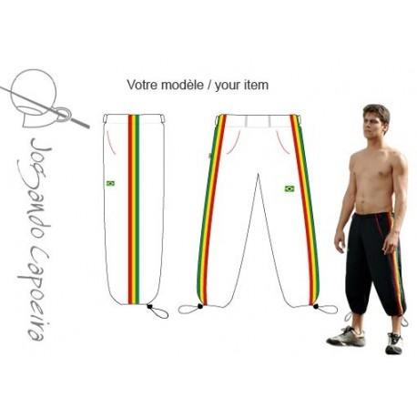 """Pantalon de capoeira  3/4 """"Jogando Capoeira"""" Voador afro blanc"""