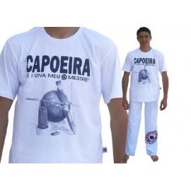 White capoeira tshirt Viva meu Mestre - sdobrado