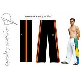 Black and orange capoeira pants - Duas Linhas Jogando Capoeira