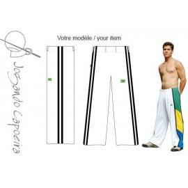 White and black capoeira pants - Duas Linhas Jogando Capoeira