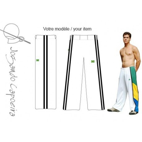 Pantalon de Capoeira blanc et noir pour homme - Duas Linhas