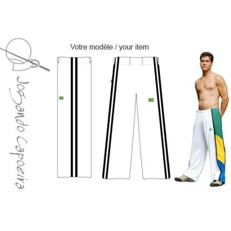 """Pantalon de Capoeira - Abada jogando capoeira """" Duas linhas"""" blanc&noir"""